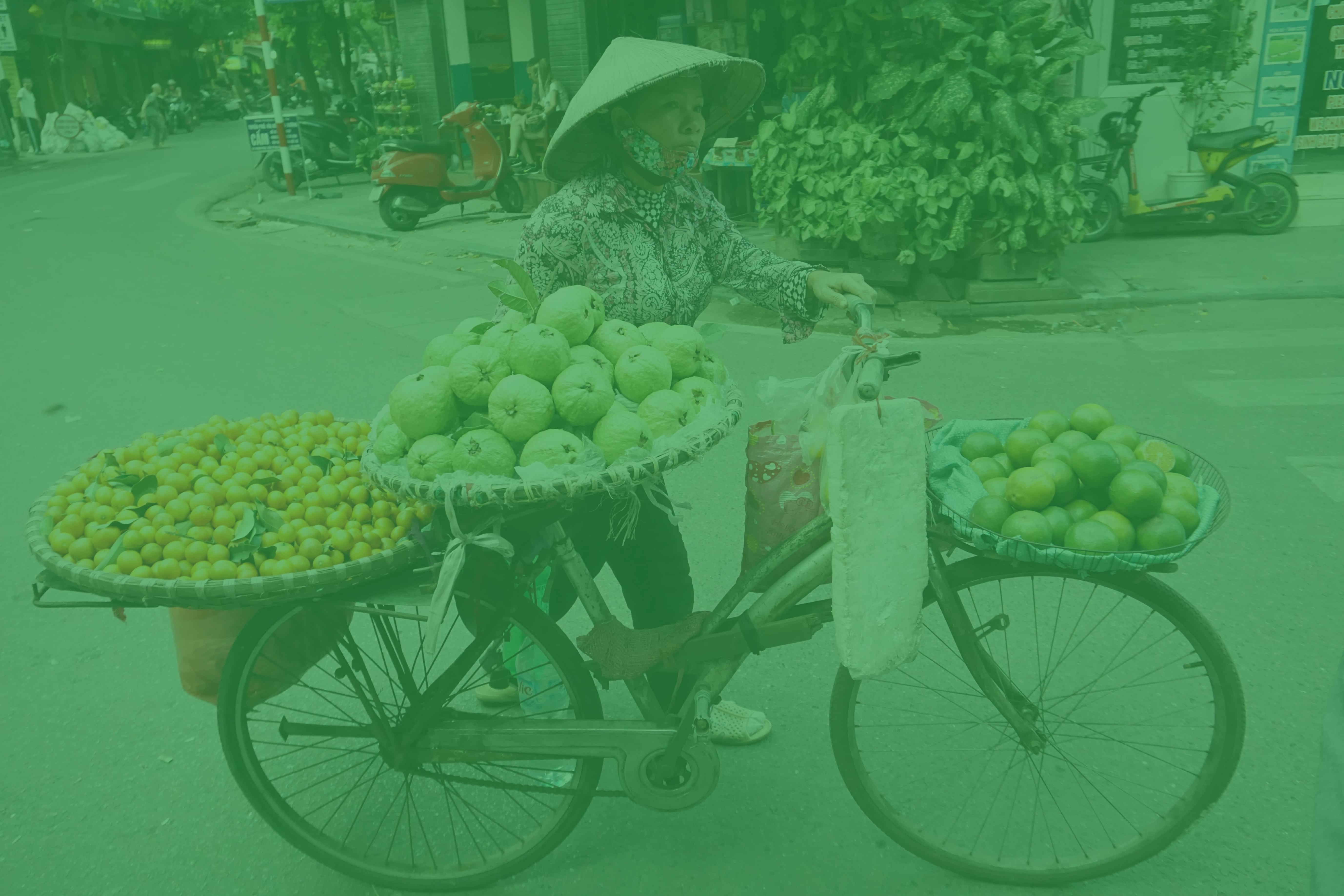 Woman rides a bike with a lot of food on it