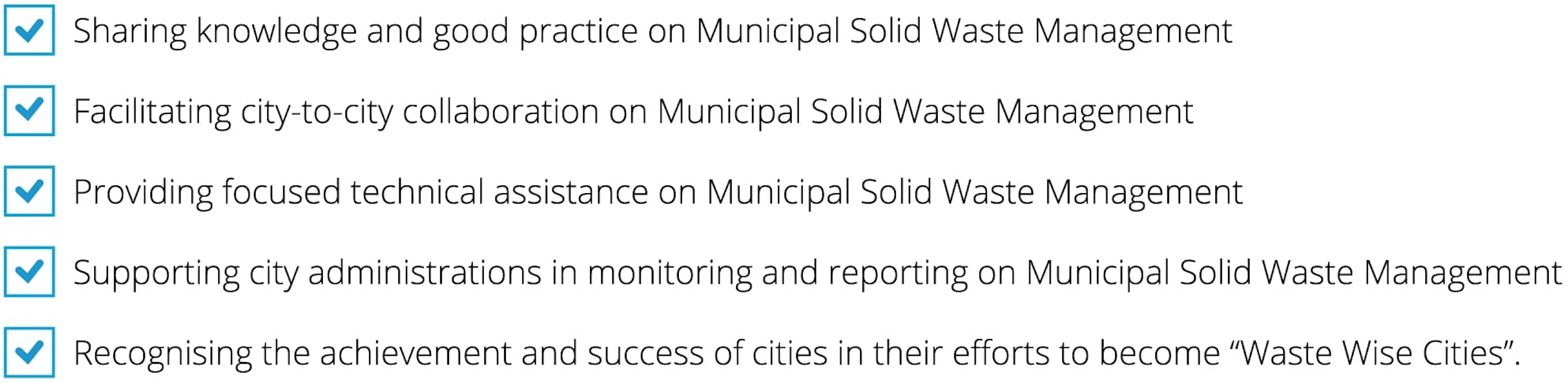 Points on how UN-Habitat can help you through the Waste-Wise Cities campaign