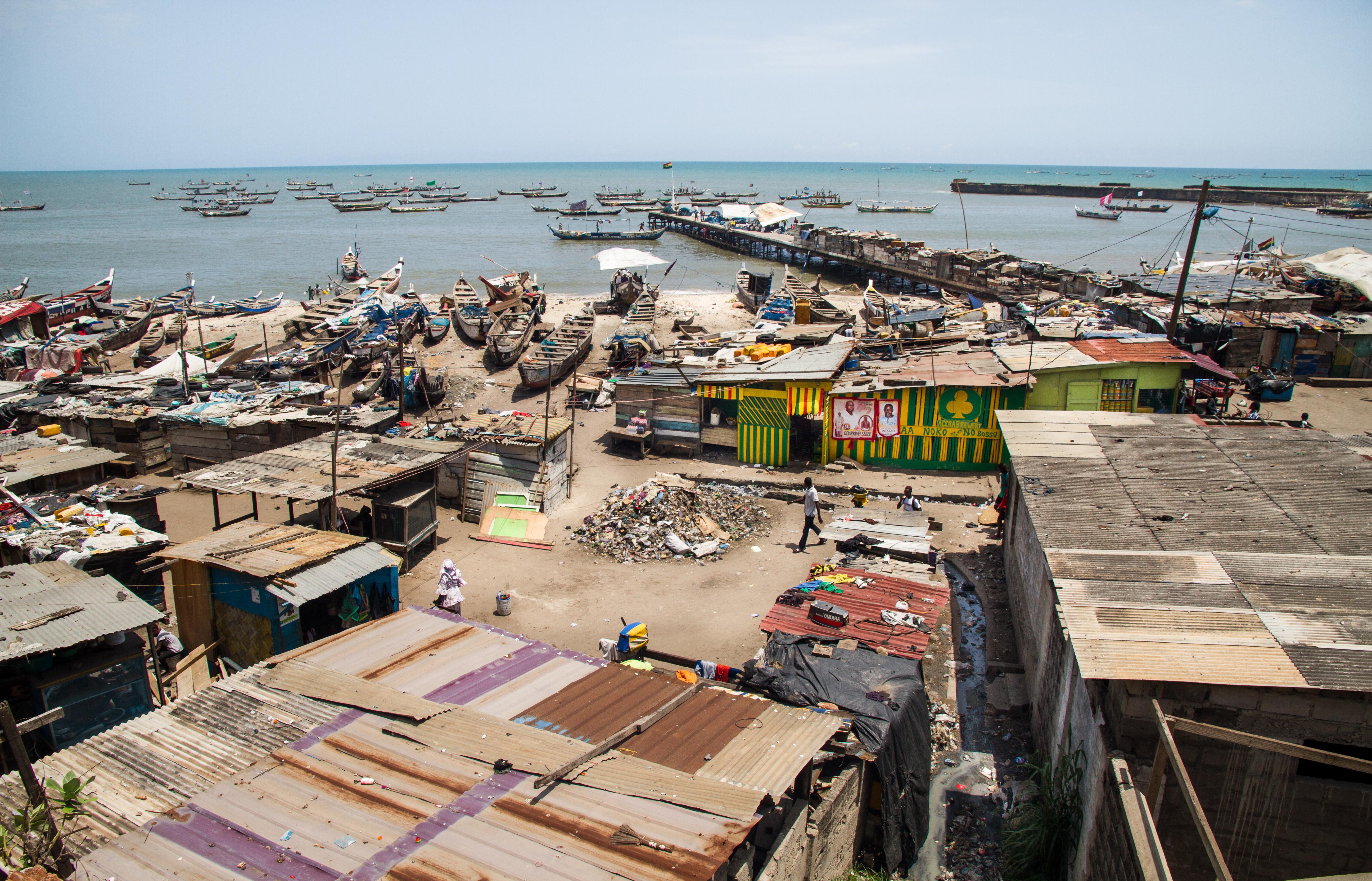 La vieja Accra, también conocida como Ga-Mashie, en la capital de Ghana.