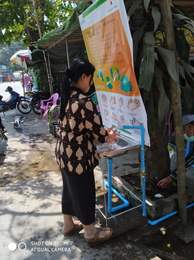 Public hand-washing stations to combat Covid-19 in Sittwe, Myanmar gaining popularity