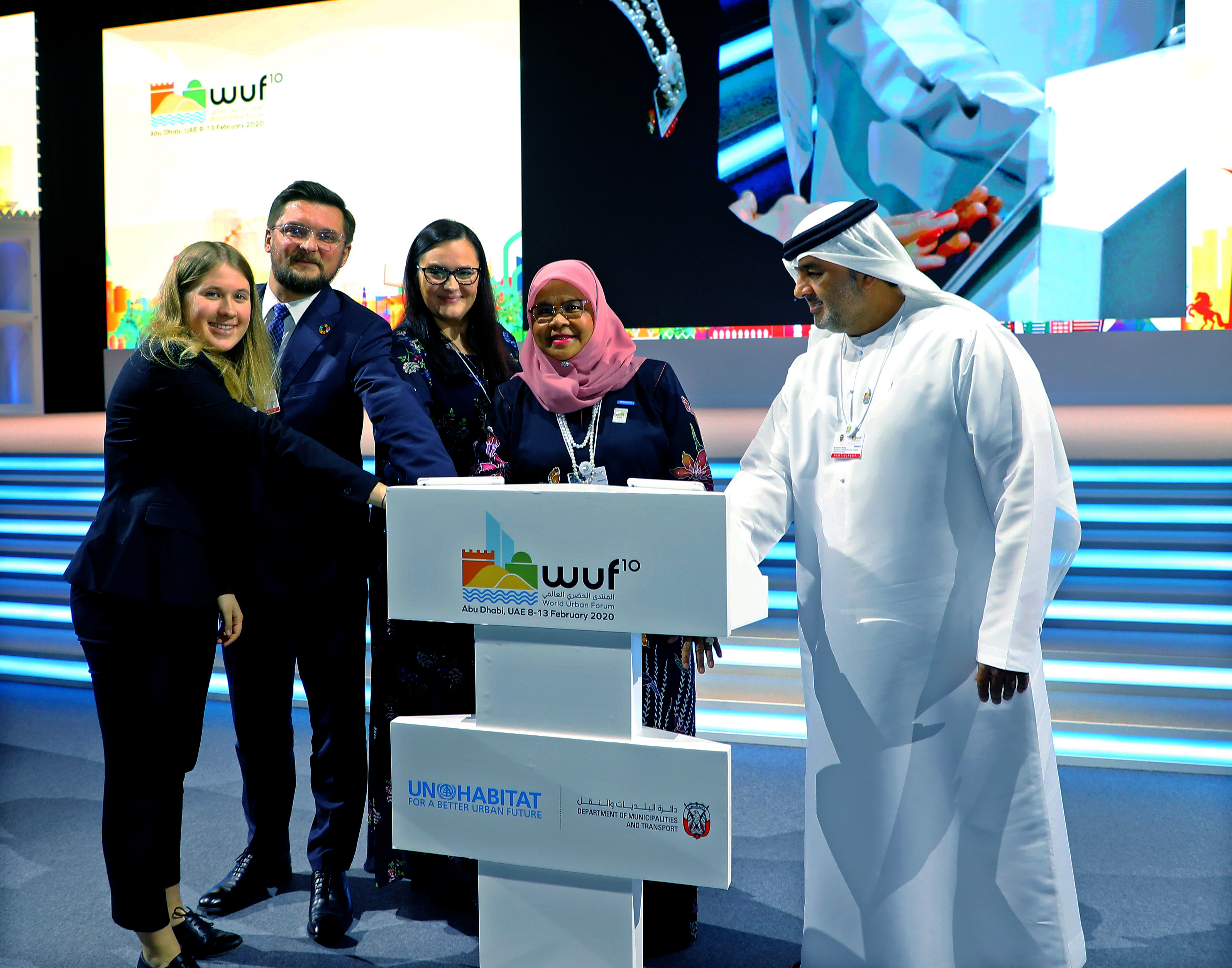 Launch of WUF11 with representatives from Poland UN-Habitat and Abu Dhabi