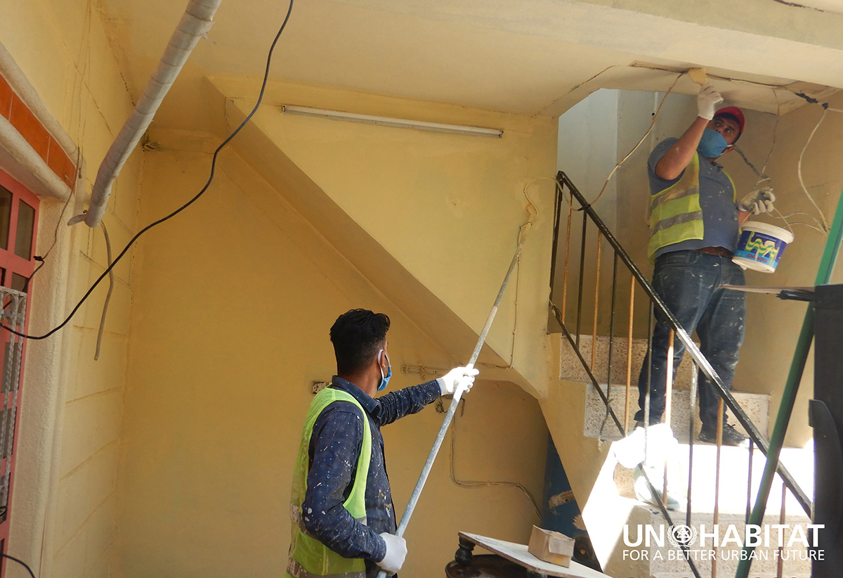 Construction work has resumed on a UN-Habitat project to rehabilitate war damaged houses in Mosul in northern Iraq with protection measures against COVID-19