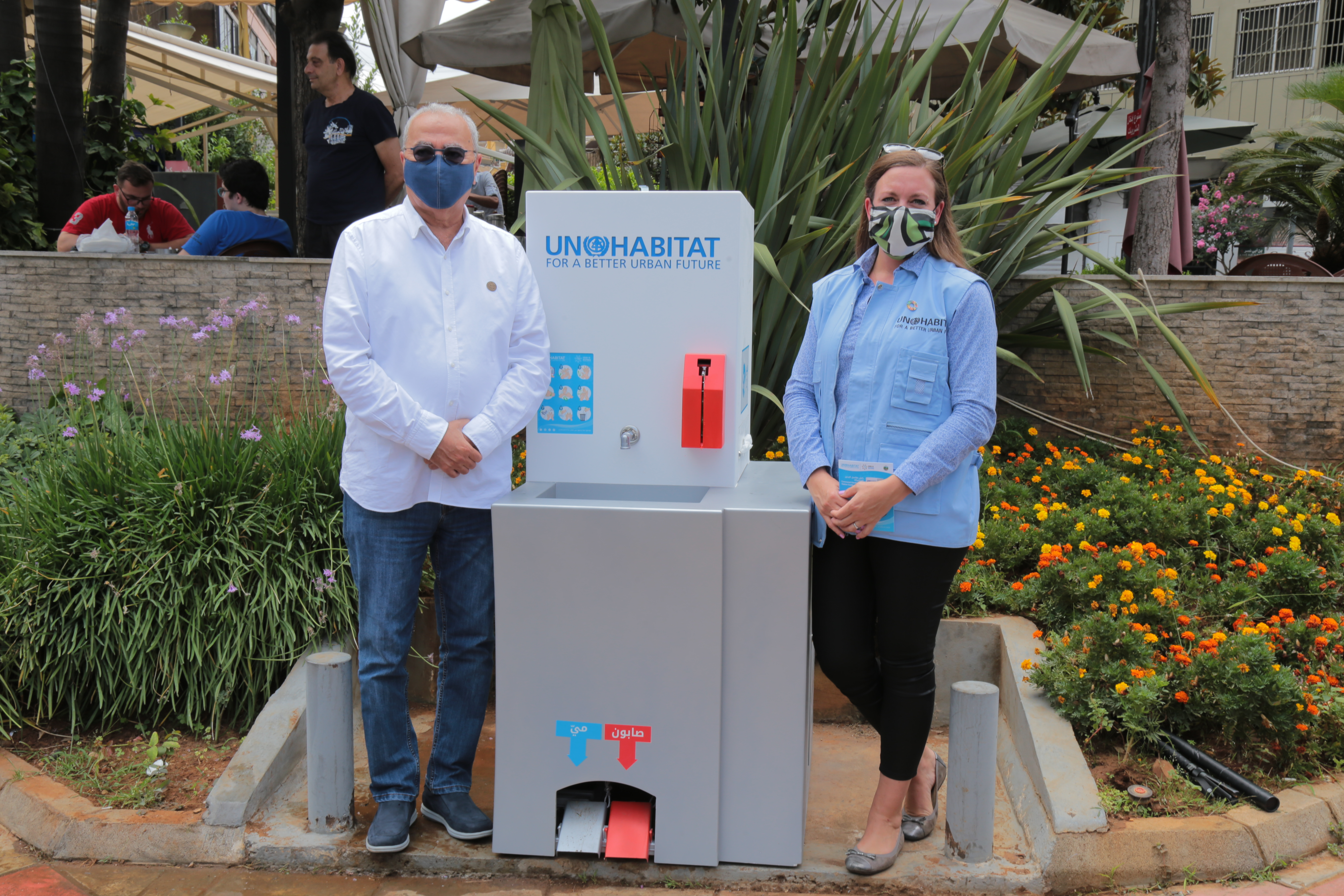The inauguration of the first communal handwashing stations in Lebanon to prevent the spread of COVID-19 and other illnesses with the Mayor of Bourj Hammoud, Mount Lebanon Mardig Boghossian and the head of UN-Habitat Lebanon Country Programme Taina Christiansen