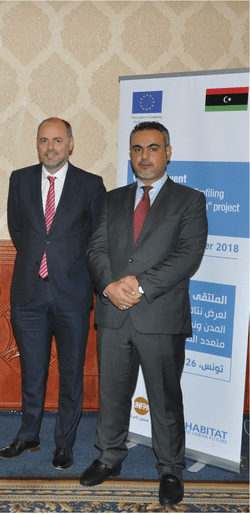 Essam Garbaa (right) and Ambassador of the European Union (left) closing the event Rapid City Profiling and Monitoring System
