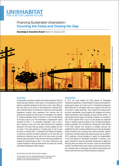 Financing Sustainable Urbanization: Counting the Costs and Closing the Gap - Cover