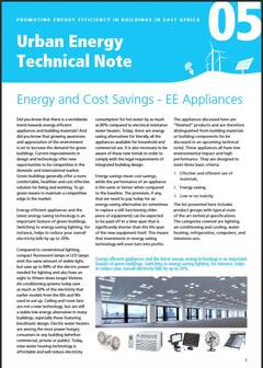 Urban Energy Technical Note 05: Energy and Cost Savings - EE Appliances - cover