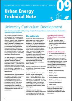 Urban Energy Technical Note 09: University Curriculum Development - cover