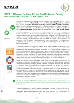 Issue Brief: COVID-19 through the Lens of Urban Rural Linkages-Guiding Principles and Framework for Action (URL-GP) - cover