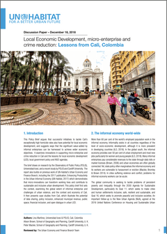 Discussion Paper – December, 2018: Local Economic Development, micro-enterprise and crime reduction: Lessons from Cali, Colombia - cover