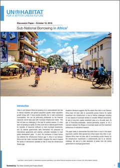 Discussion Paper – October, 2018: Sub-National Borrowing in Africa - cover