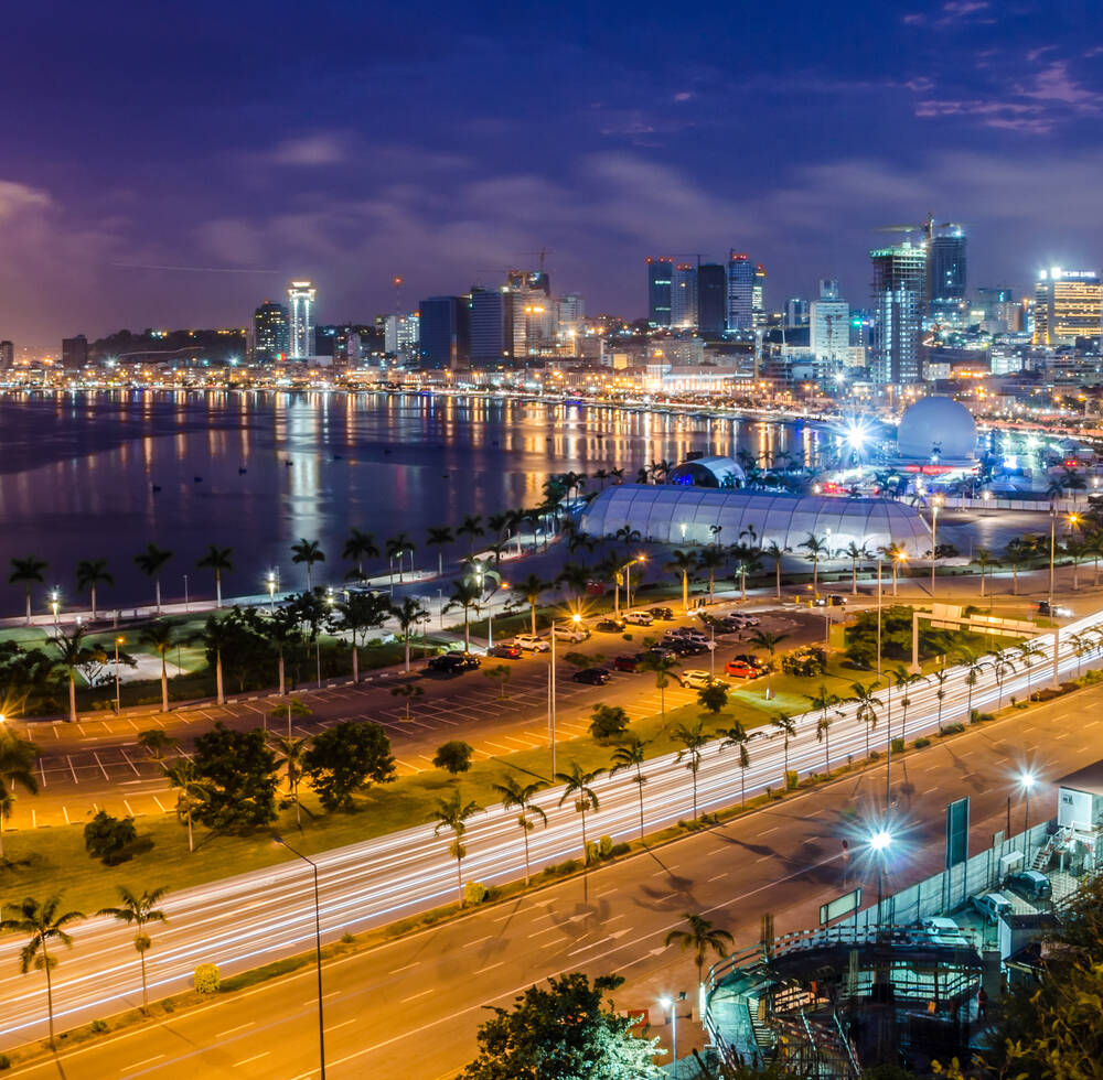Skyline of capital city, Luanda, Luanda bay and seaside promenade with highway during afternoon, Angola, Africa
