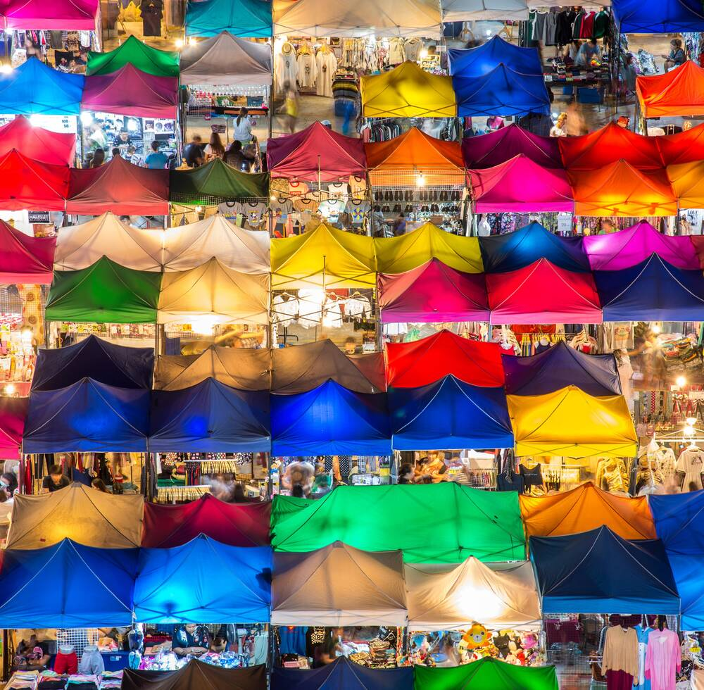 Colourful tents in a market