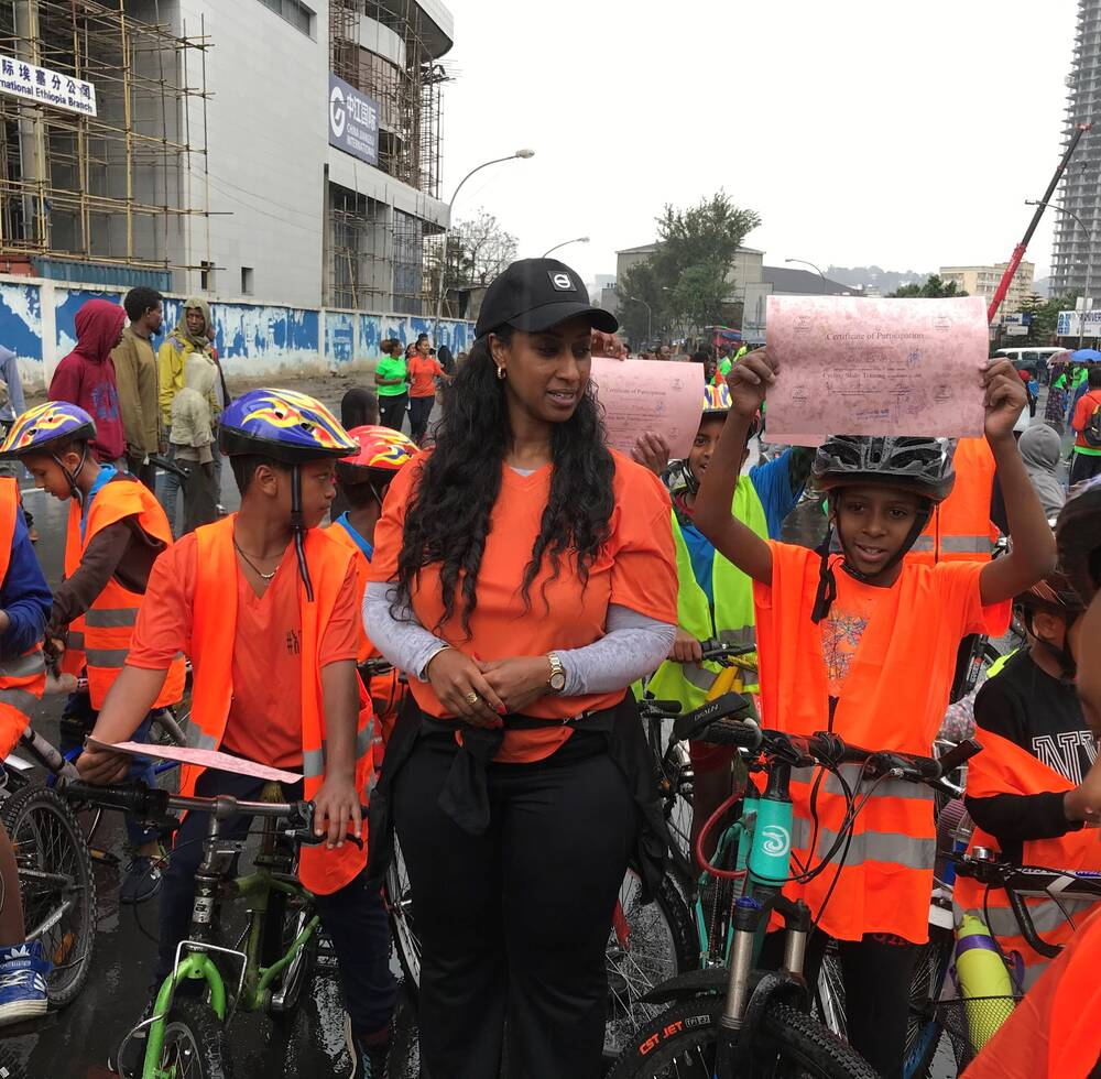 The Transport Minister of Ethiopia together with cyclists during the bicycle skills training during the Car Free Day in Addis Ababa
