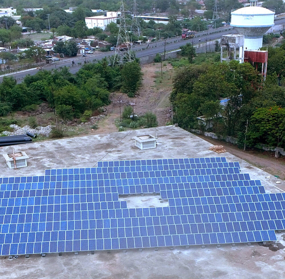 Solar panels at a water treatment plant