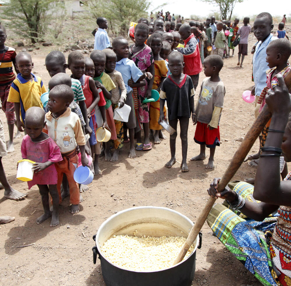Pupils queuing for food at one of the local schools in Kalobeyei Turkana, Kenya (2016)