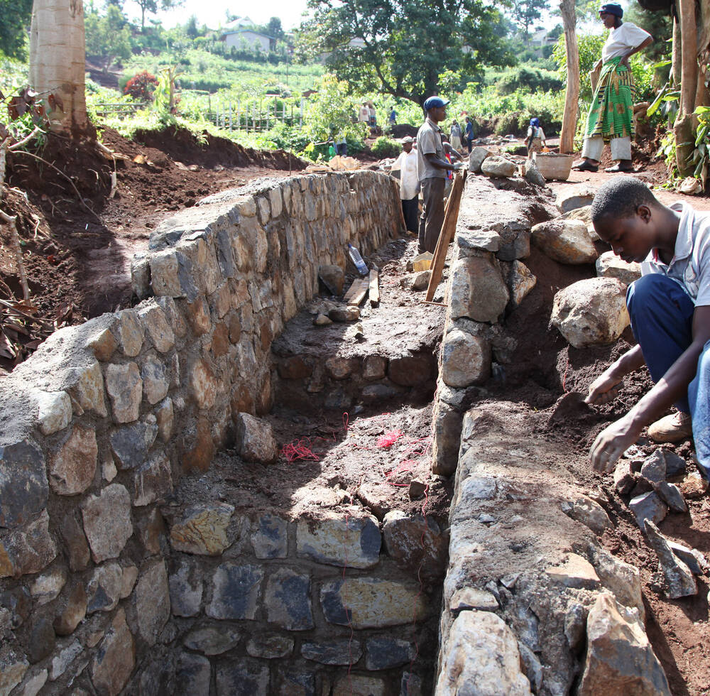 Ongoing construction of water tunnel that is supported by UN-HABITAT and ONE UN in Rusizi, Rwanda 2012