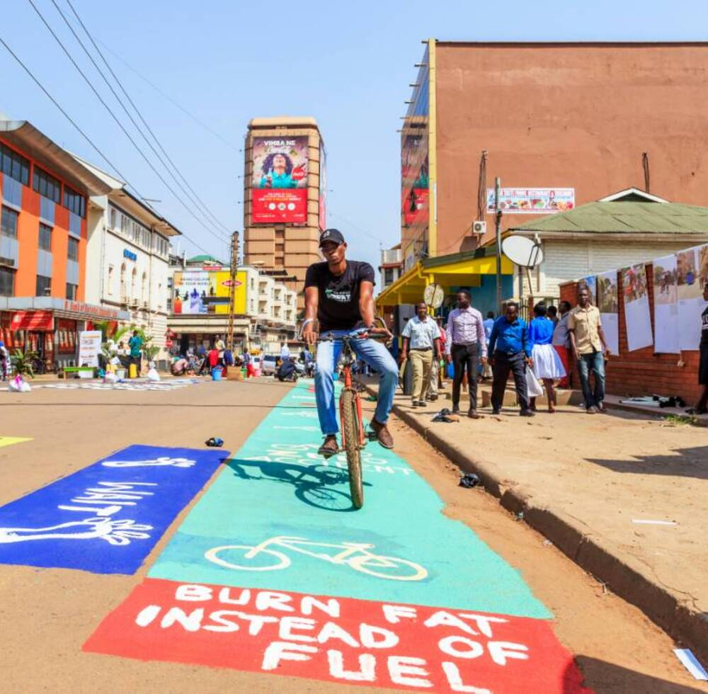 A cyclist in Uganda's capital Kampala