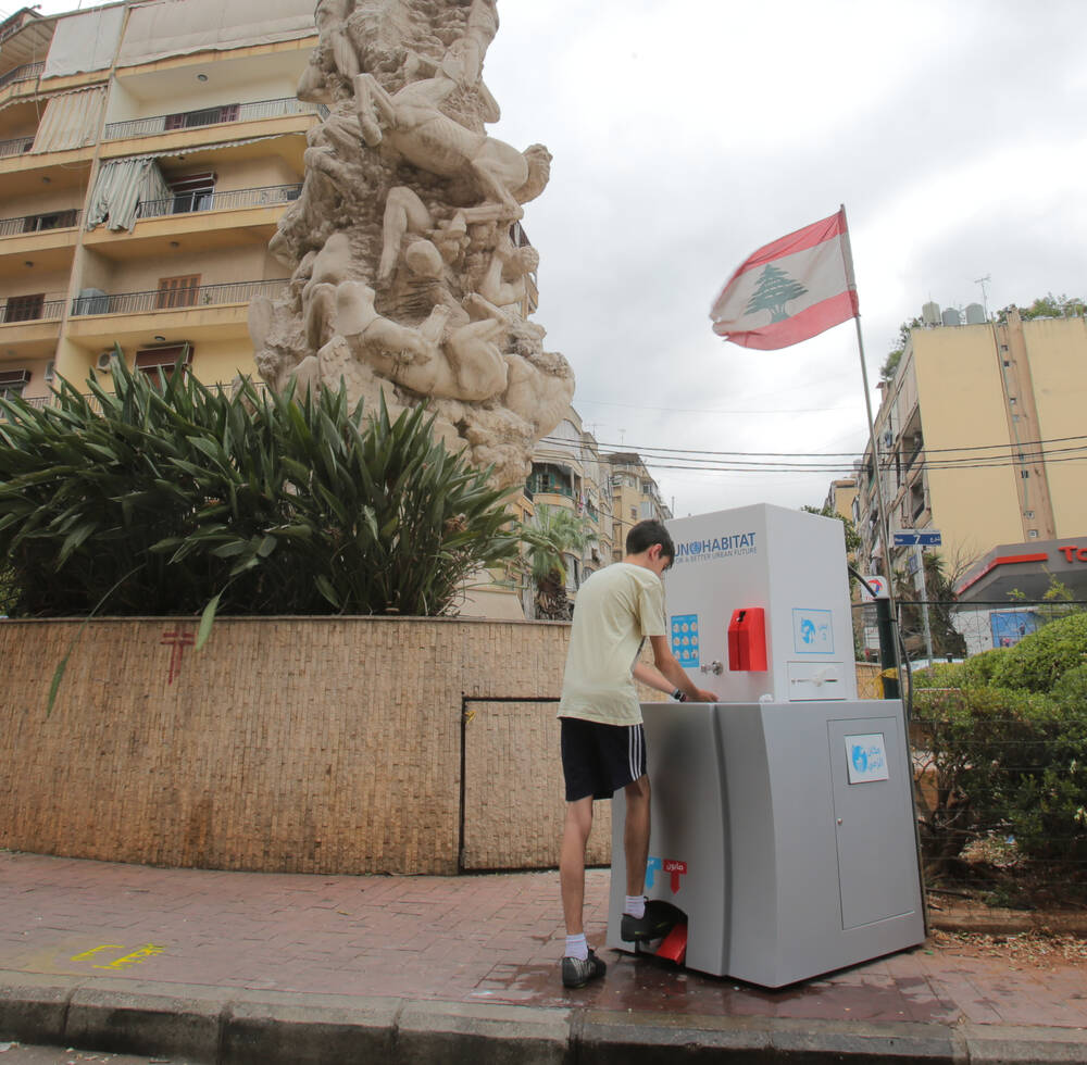 One of the first communal handwashing stations in Lebanon, installed by UN-Habitat to prevent the spread of COVID-19 and other illnesses in Bourj Hammoud, Mount Lebanon