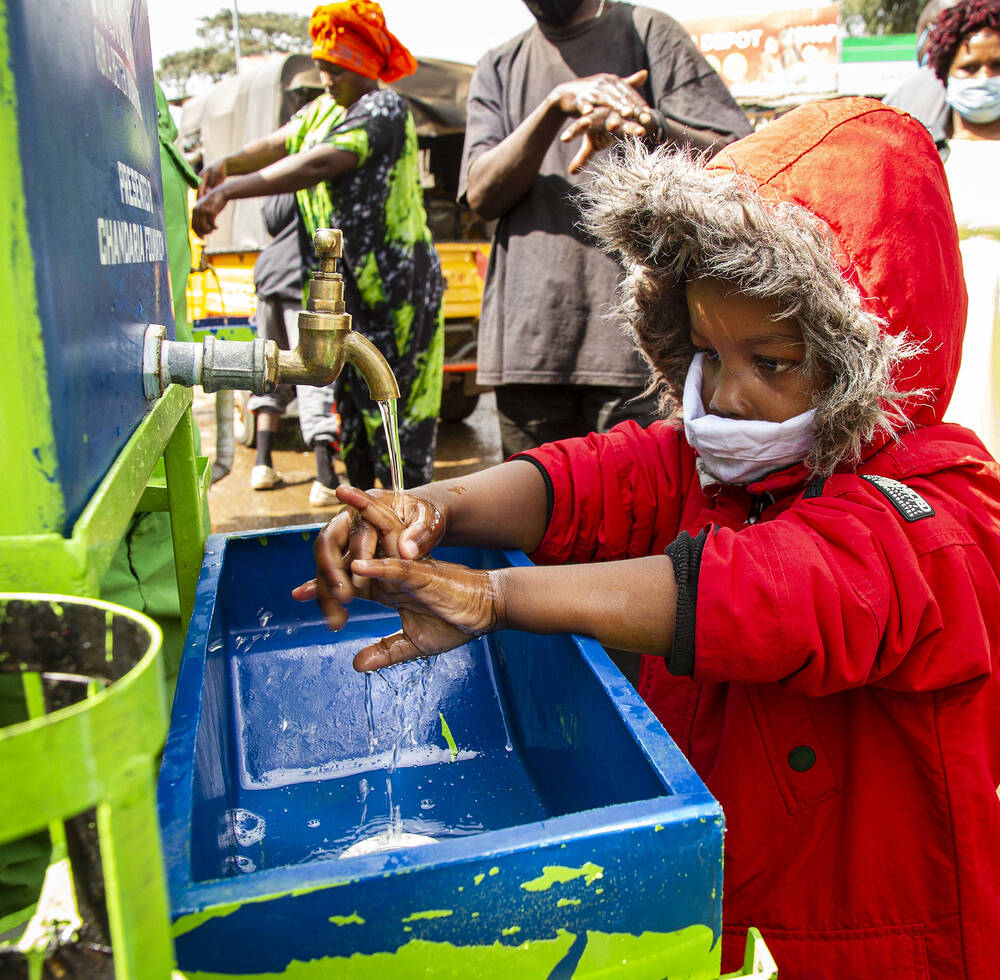 A handwashing facility organized by UN-Habitat and Kibra Green, a community based organization in Kibera slum, Nairobi, Kenya during the COVID-19 pandemic May 2020