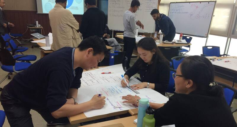 Mongolian participants working on their Stakeholder Analysis exercises