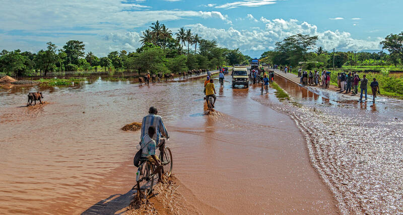 Flooded road in Africa