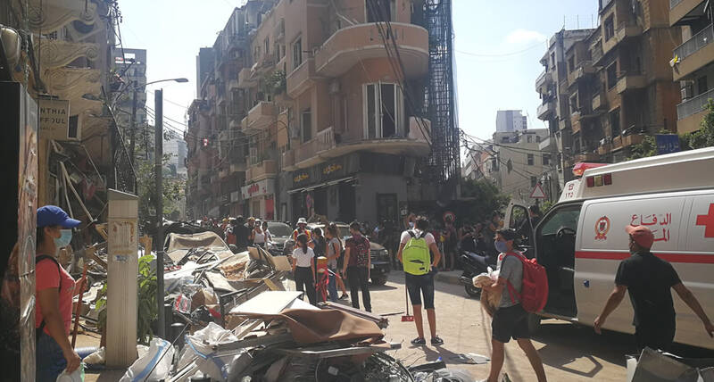 Street scene in Beirut after the explosions August 2020