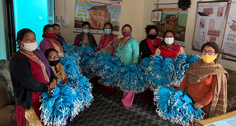 Mask making in Bungamati by home-based workers