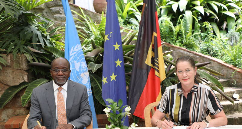 UN-Habitat Deputy Executive Director Mr. Victor Kisob with the German Ambassador to Kenya H.E. Annett Günther, During the signing of MoU to establish the United Nations Innovation Technology Accelerator for Cities in Nairobi, Kenya 2020