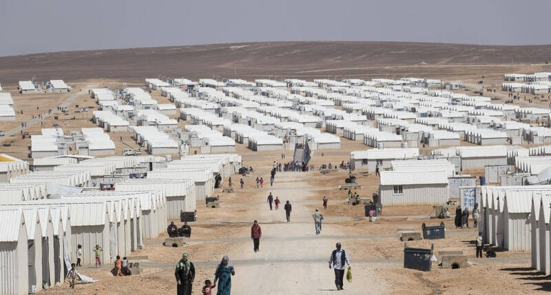 The Azraq refugee camp in Jordan is located 100km east of the capital city of Amman.