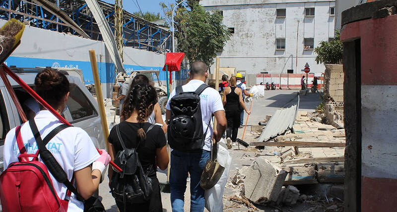 UN-Habitat team supporting the clean-up efforts days after the Beirut blast.