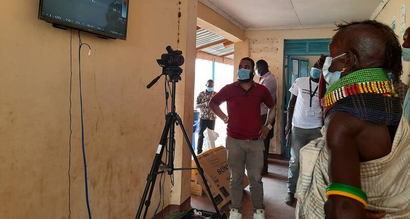 Body temperature measuring camera installed at community centre for integration of refugees and host community in Kenya